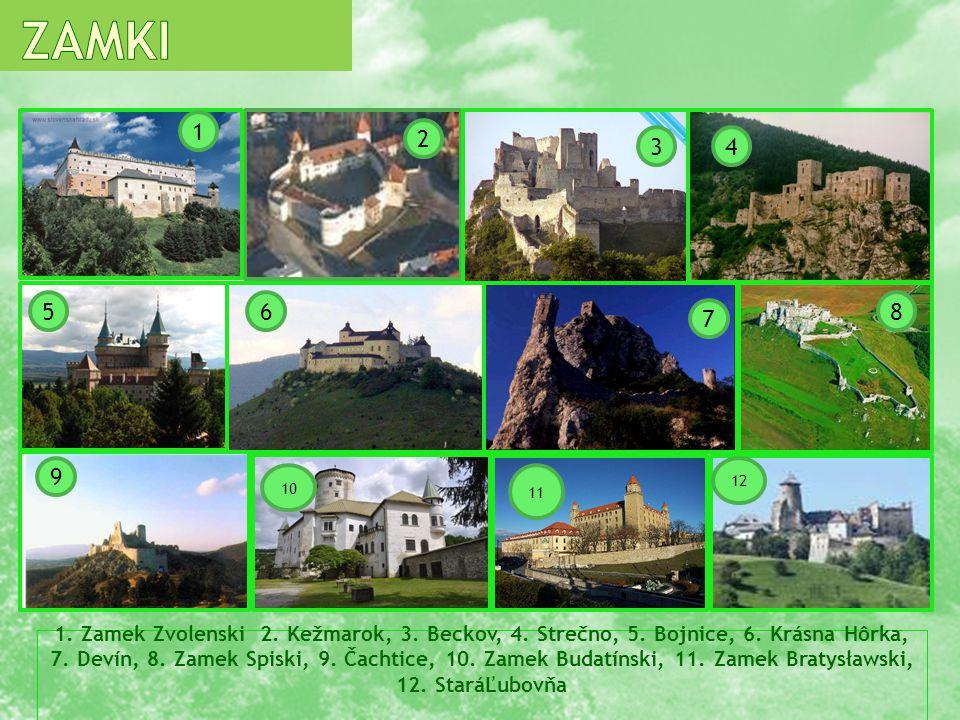 1. Zamek Zvolenski 2. Kežmarok, 3. Beckov, 4. Strečno, 5. Bojnice, 6. Krásna Hôrka, 7. Devín, 8. Zamek Spiski, 9. Čachtice, 10. Zamek Budatínski, 11.