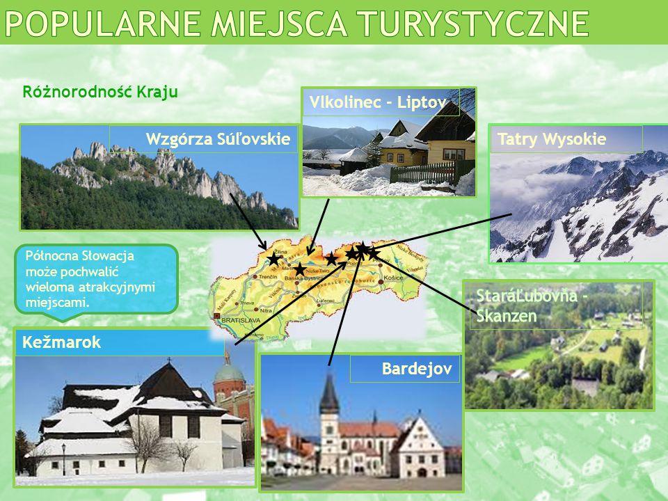 Wzgórza Súľovskie Bardejov Vlkolinec - Liptov Kežmarok Tatry Wysokie Północna Słowacja może pochwalić wieloma atrakcyjnymi miejscami. Różnorodność Kra