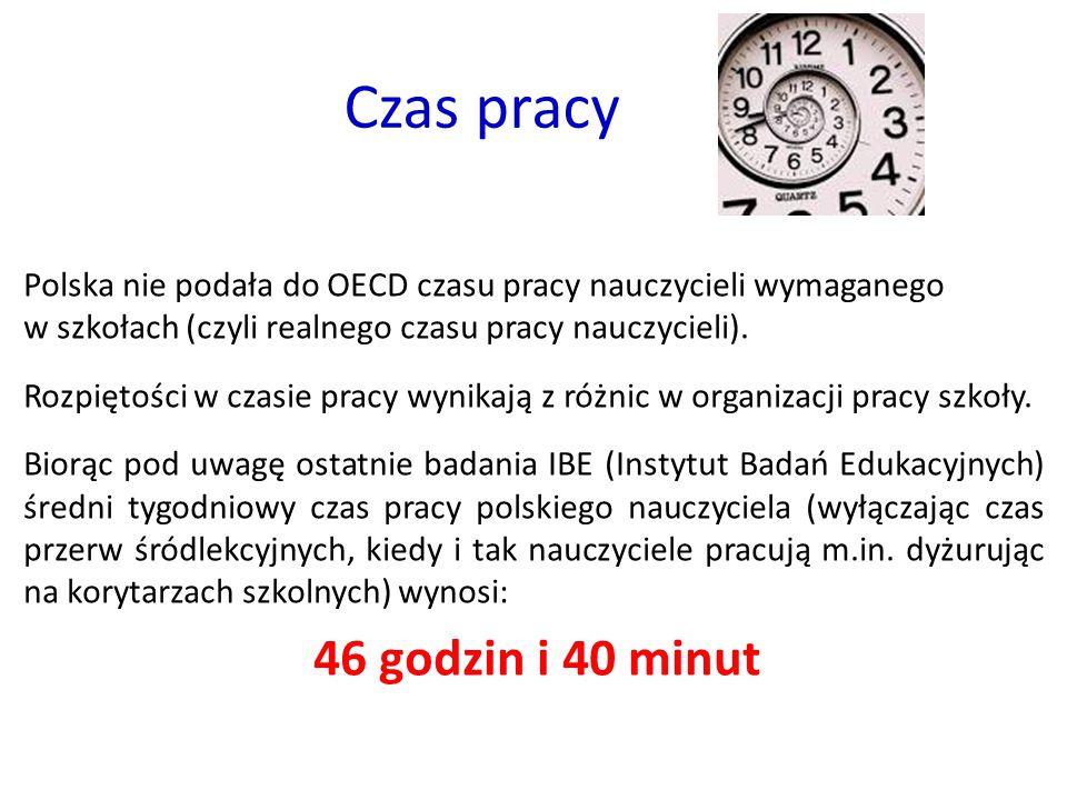 Czas pracy Polska nie podała do OECD czasu pracy nauczycieli wymaganego w szkołach (czyli realnego czasu pracy nauczycieli). Rozpiętości w czasie prac