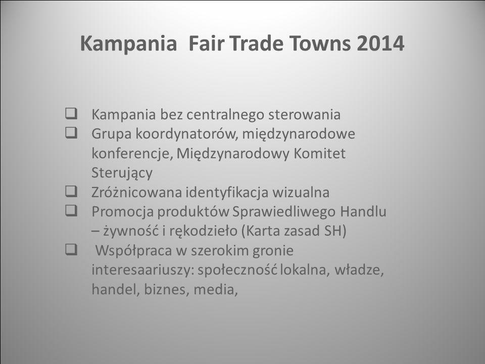  Kampania bez centralnego sterowania  Grupa koordynatorów, międzynarodowe konferencje, Międzynarodowy Komitet Sterujący  Zróżnicowana identyfikacja wizualna  Promocja produktów Sprawiedliwego Handlu – żywność i rękodzieło (Karta zasad SH)  Współpraca w szerokim gronie interesaariuszy: społeczność lokalna, władze, handel, biznes, media, Kampania Fair Trade Towns 2014