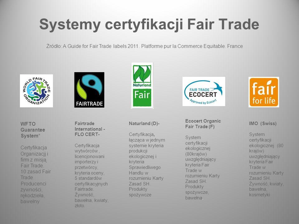 Systemy certyfikacji Fair Trade WFTO Guarantee System* Certyfikacja Organizacjj i firm z misją Fair Trade.