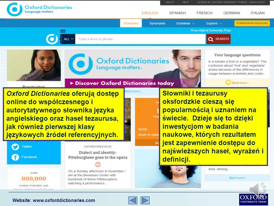 Niniejsza prezentacja podaje krótki opis Oxford Dictionaries online.