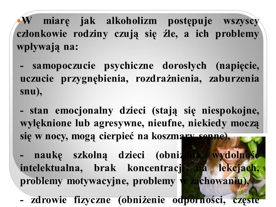 W miarę jak alkoholizm postępuje wszyscy członkowie rodziny czują się źle, a ich problemy wpływają na: - samopoczucie psychiczne dorosłych (napięcie, uczucie przygnębienia, rozdrażnienia, zaburzenia snu), - stan emocjonalny dzieci (stają się niespokojne, wylęknione lub agresywne, nieufne, niekiedy moczą się w nocy, mogą cierpieć na koszmary senne), - naukę szkolną dzieci (obniżona wydolność intelektualna, brak koncentracji na lekcjach, problemy motywacyjne, problemy w zachowaniu), - zdrowie fizyczne (obniżenie odporności, częste choroby, w tym choroby psychosomatyczne), - sytuację materialną rodziny (pojawiają się długi, utrata pracy), - sięganie po leki uspokajające, ucieczka w gry komputerowe, internet i inne zachowania kompulsywne.