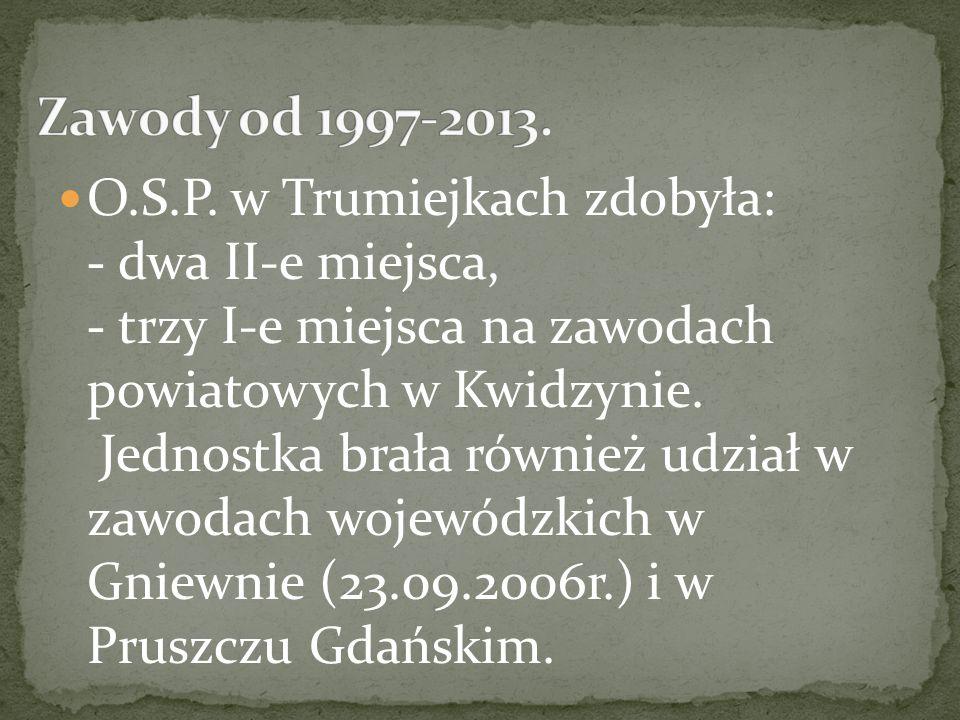 O.S.P. w Trumiejkach zdobyła: - dwa II-e miejsca, - trzy I-e miejsca na zawodach powiatowych w Kwidzynie. Jednostka brała również udział w zawodach wo