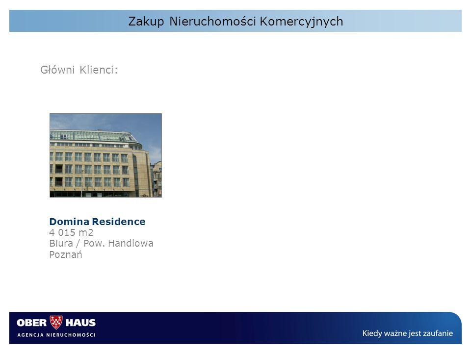 Zakup Nieruchomości Komercyjnych Główni Klienci: Domina Residence 4 015 m2 Biura / Pow. Handlowa Poznań