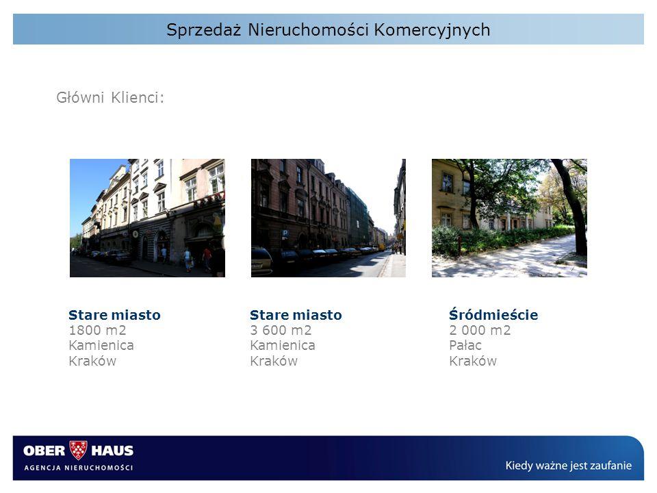 Sprzedaż Nieruchomości Komercyjnych Główni Klienci: Stare miasto 1800 m2 Kamienica Kraków Stare miasto 3 600 m2 Kamienica Kraków Śródmieście 2 000 m2