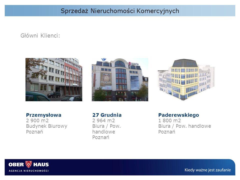 Sprzedaż Nieruchomości Komercyjnych Główni Klienci: Przemysłowa 2 900 m2 Budynek Biurowy Poznań 27 Grudnia 2 964 m2 Biura / Pow. handlowe Poznań Pader