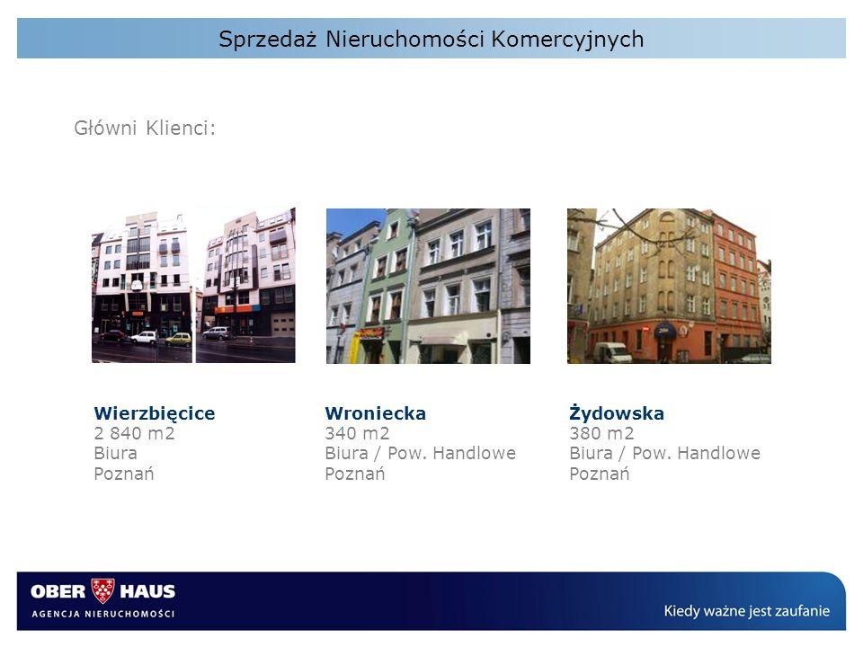 Sprzedaż Nieruchomości Komercyjnych Główni Klienci: Wierzbięcice 2 840 m2 Biura Poznań Wroniecka 340 m2 Biura / Pow. Handlowe Poznań Żydowska 380 m2 B