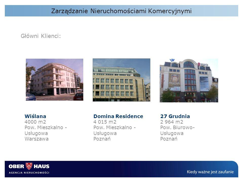 Zarządzanie Nieruchomościami Komercyjnymi Główni Klienci: Wiślana 4000 m2 Pow. Mieszkalno - Usługowa Warszawa Domina Residence 4 015 m2 Pow. Mieszkaln