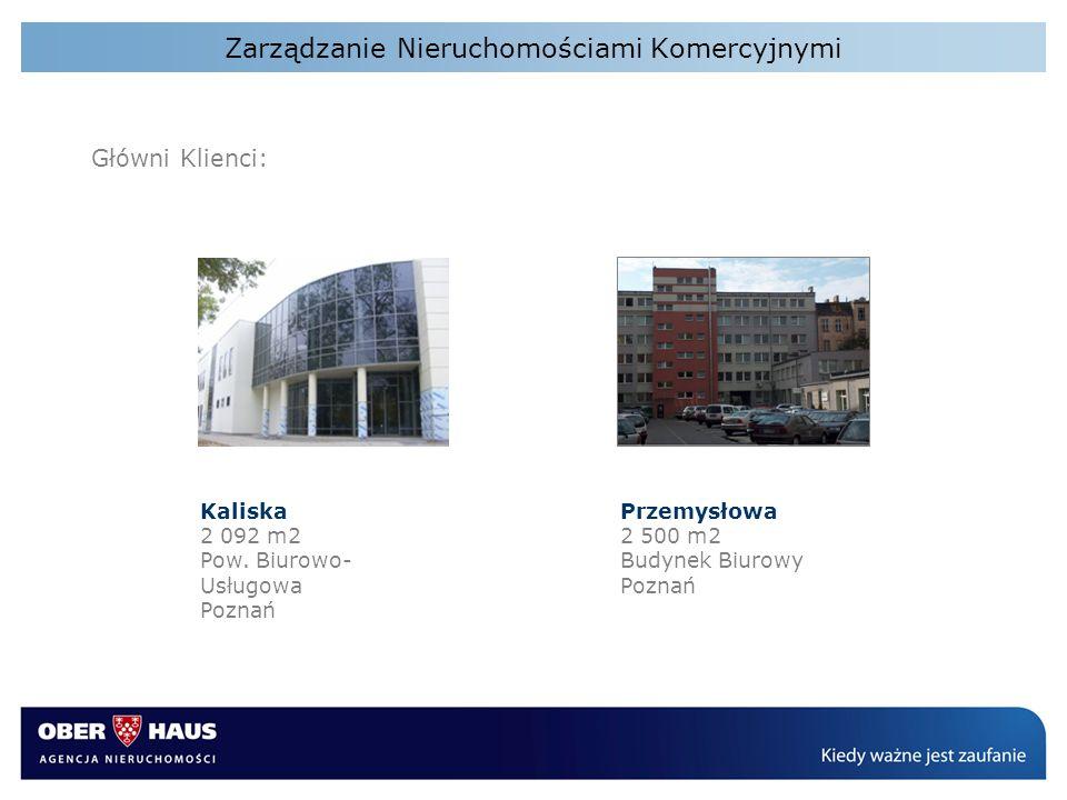 Zarządzanie Nieruchomościami Komercyjnymi Główni Klienci: Kaliska 2 092 m2 Pow. Biurowo- Usługowa Poznań Przemysłowa 2 500 m2 Budynek Biurowy Poznań