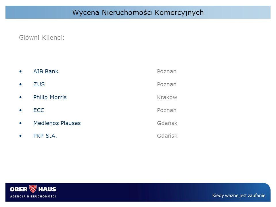 Wycena Nieruchomości Komercyjnych Główni Klienci: AIB BankPoznań ZUS Poznań Philip MorrisKraków ECCPoznań Medienos PlausasGdańsk PKP S.A.Gdańsk