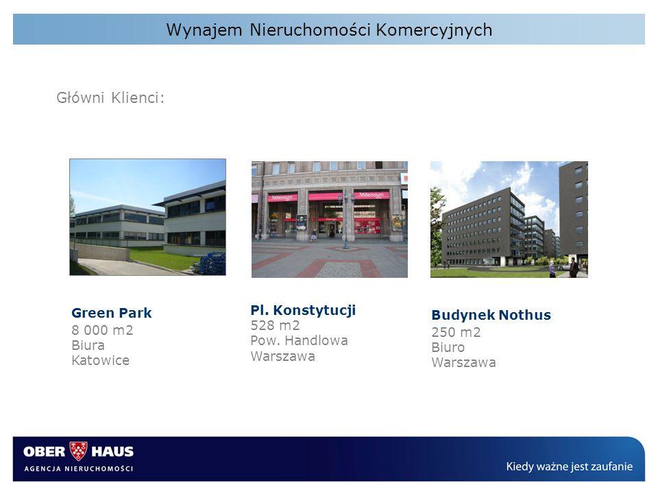 Wynajem Nieruchomości Komercyjnych Green Park 8 000 m2 Biura Katowice Pl. Konstytucji 528 m2 Pow. Handlowa Warszawa Budynek Nothus 250 m2 Biuro Warsza