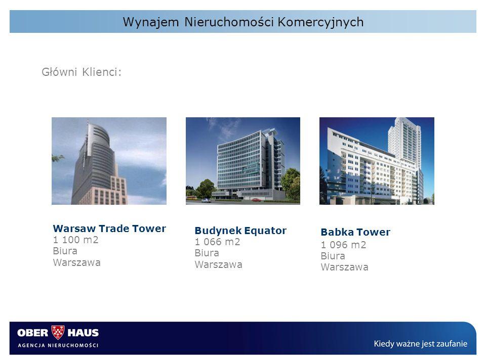 Wynajem Nieruchomości Komercyjnych Główni Klienci: Warsaw Trade Tower 1 100 m2 Biura Warszawa Budynek Equator 1 066 m2 Biura Warszawa Babka Tower 1 09