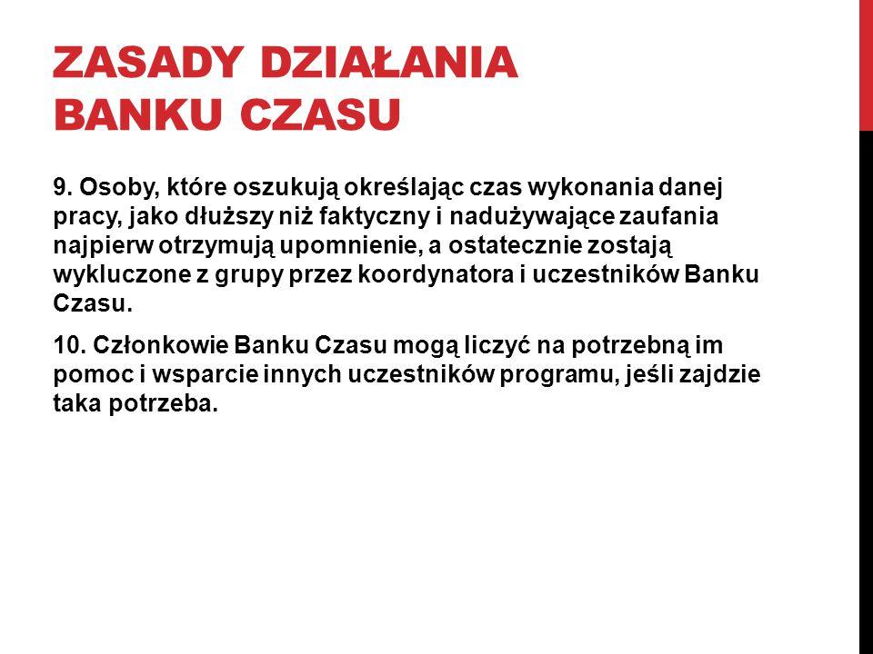 ZASADY DZIAŁANIA BANKU CZASU 9.