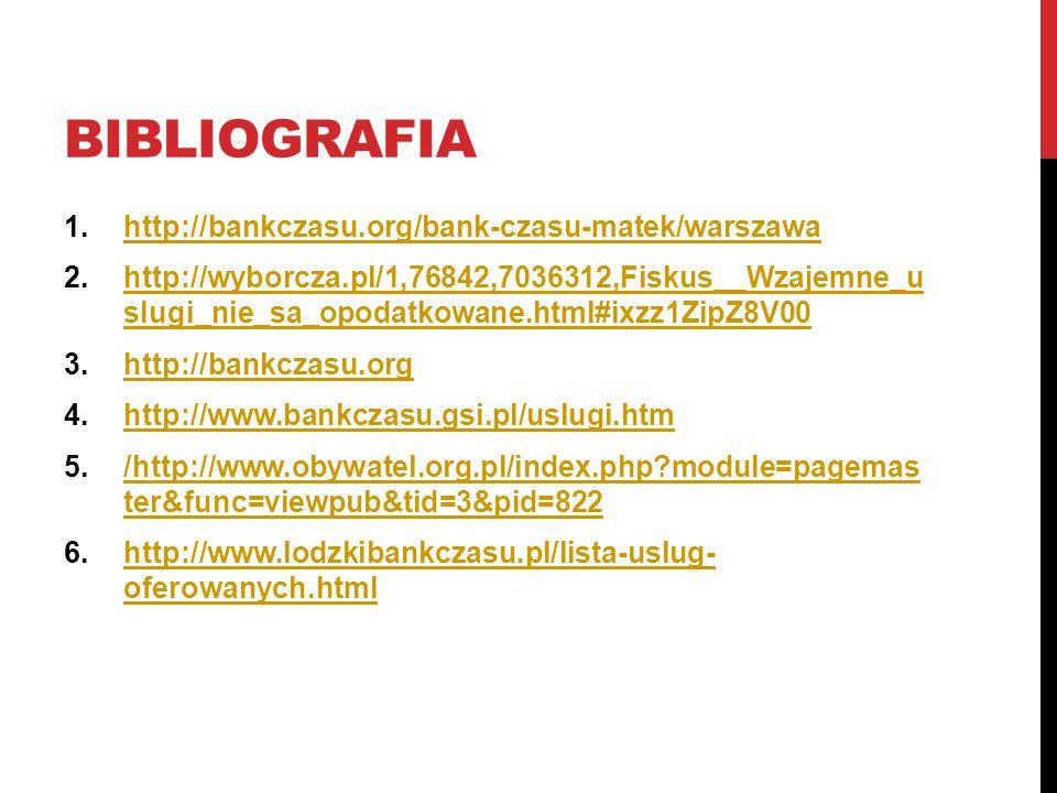 BIBLIOGRAFIA 1.http://bankczasu.org/bank-czasu-matek/warszawahttp://bankczasu.org/bank-czasu-matek/warszawa 2.http://wyborcza.pl/1,76842,7036312,Fiskus__Wzajemne_u slugi_nie_sa_opodatkowane.html#ixzz1ZipZ8V00http://wyborcza.pl/1,76842,7036312,Fiskus__Wzajemne_u slugi_nie_sa_opodatkowane.html#ixzz1ZipZ8V00 3.http://bankczasu.orghttp://bankczasu.org 4.http://www.bankczasu.gsi.pl/uslugi.htmhttp://www.bankczasu.gsi.pl/uslugi.htm 5./http://www.obywatel.org.pl/index.php module=pagemas ter&func=viewpub&tid=3&pid=822/http://www.obywatel.org.pl/index.php module=pagemas ter&func=viewpub&tid=3&pid=822 6.http://www.lodzkibankczasu.pl/lista-uslug- oferowanych.htmlhttp://www.lodzkibankczasu.pl/lista-uslug- oferowanych.html