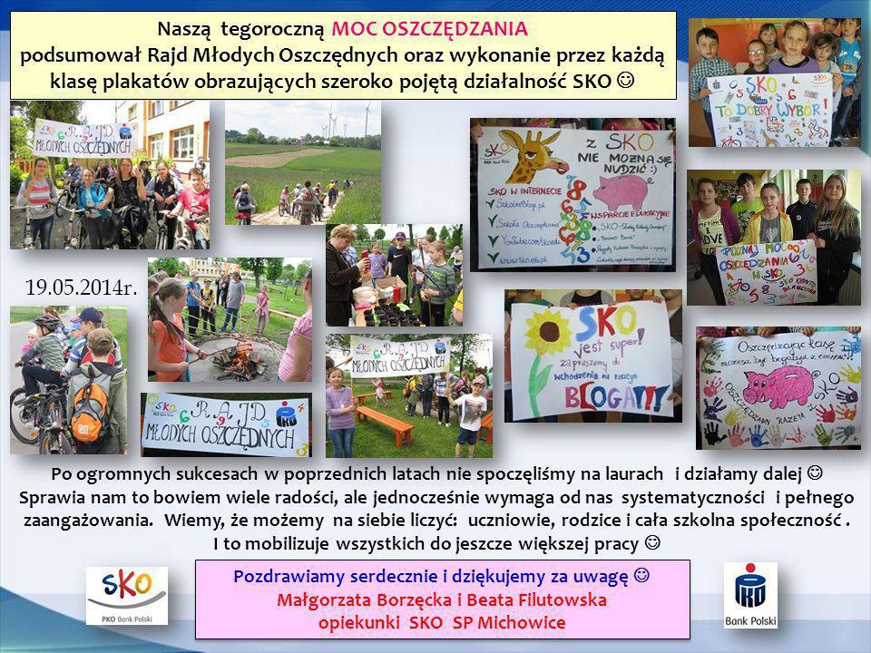 Naszą tegoroczną MOC OSZCZĘDZANIA podsumował Rajd Młodych Oszczędnych oraz wykonanie przez każdą klasę plakatów obrazujących szeroko pojętą działalnoś