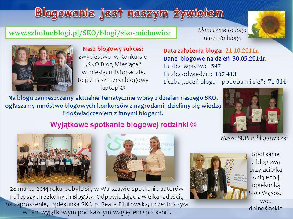 """www.szkolneblogi.pl/SKO/blogi/sko-michowice Nasz blogowy sukces: zwycięstwo w Konkursie """"SKO Blog Miesiąca"""" w miesiącu listopadzie. To już nasz trzeci"""