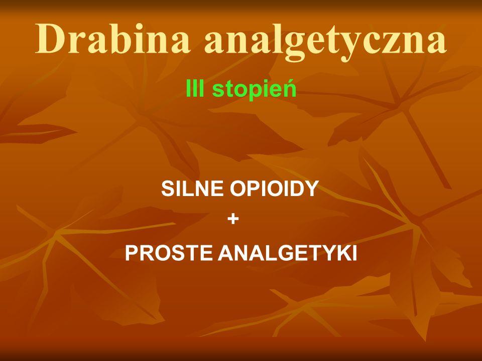 Drabina analgetyczna III stopień SILNE OPIOIDY PROSTE ANALGETYKI +