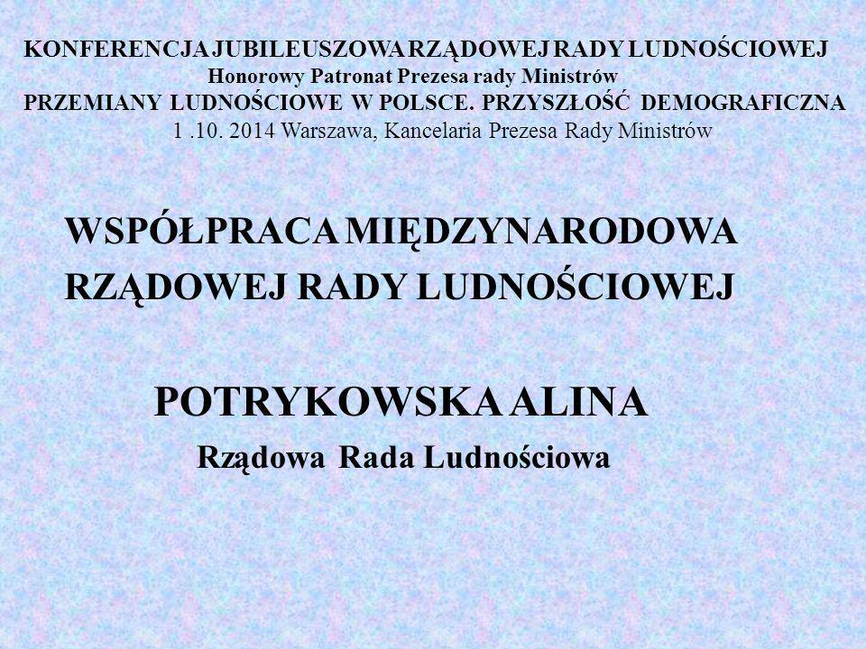 KONFERENCJA JUBILEUSZOWA RZĄDOWEJ RADY LUDNOŚCIOWEJ Honorowy Patronat Prezesa rady Ministrów PRZEMIANY LUDNOŚCIOWE W POLSCE.