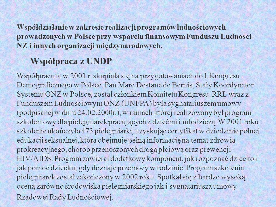 Współdziałanie w zakresie realizacji programów ludnościowych prowadzonych w Polsce przy wsparciu finansowym Funduszu Ludności NZ i innych organizacji międzynarodowych.