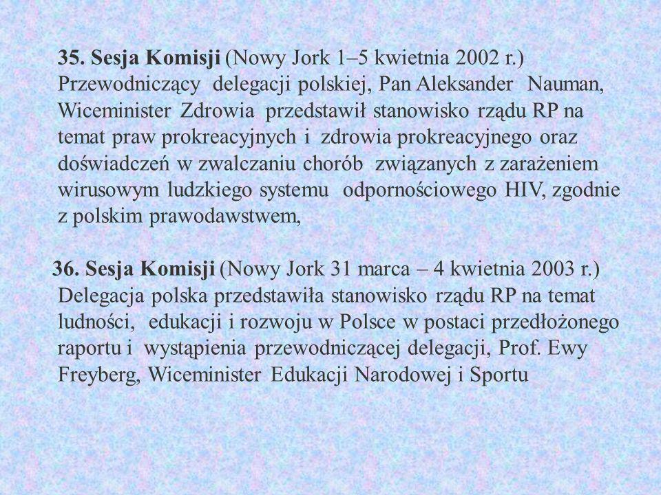 35. Sesja Komisji (Nowy Jork 1–5 kwietnia 2002 r.) Przewodniczący delegacji polskiej, Pan Aleksander Nauman, Wiceminister Zdrowia przedstawił stanowis