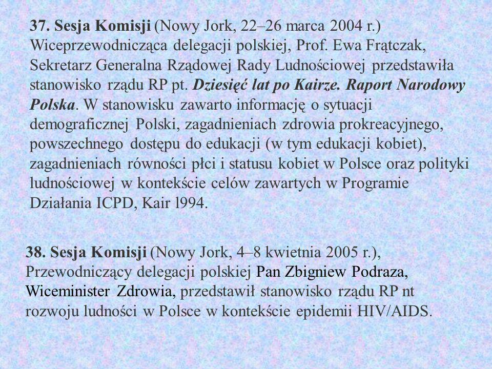 37. Sesja Komisji (Nowy Jork, 22–26 marca 2004 r.) Wiceprzewodnicząca delegacji polskiej, Prof.