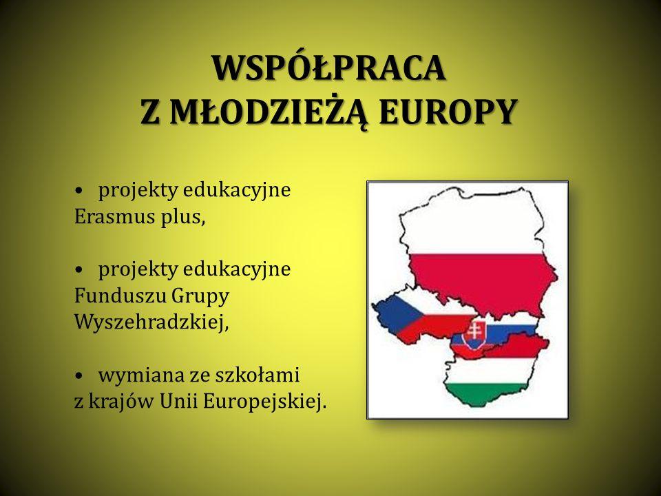 WSPÓŁPRACA Z MŁODZIEŻĄ EUROPY projekty edukacyjne Erasmus plus, projekty edukacyjne Funduszu Grupy Wyszehradzkiej, wymiana ze szkołami z krajów Unii E