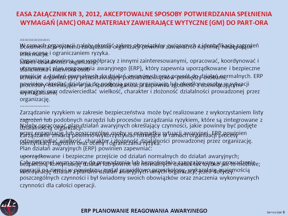 Sarnoci ń ski ® ERP PLANOWANIE REAGOWANIA AWARYJNEGO EASA ZAŁĄCZNIK NR 3, 2012, AKCEPTOWALNE SPOSOBY POTWIERDZANIA SPEŁNIENIA WYMAGAŃ (AMC) ORAZ MATERIAŁY ZAWIERAJĄCE WYTYCZNE (GM) DO PART-ORA ………………..