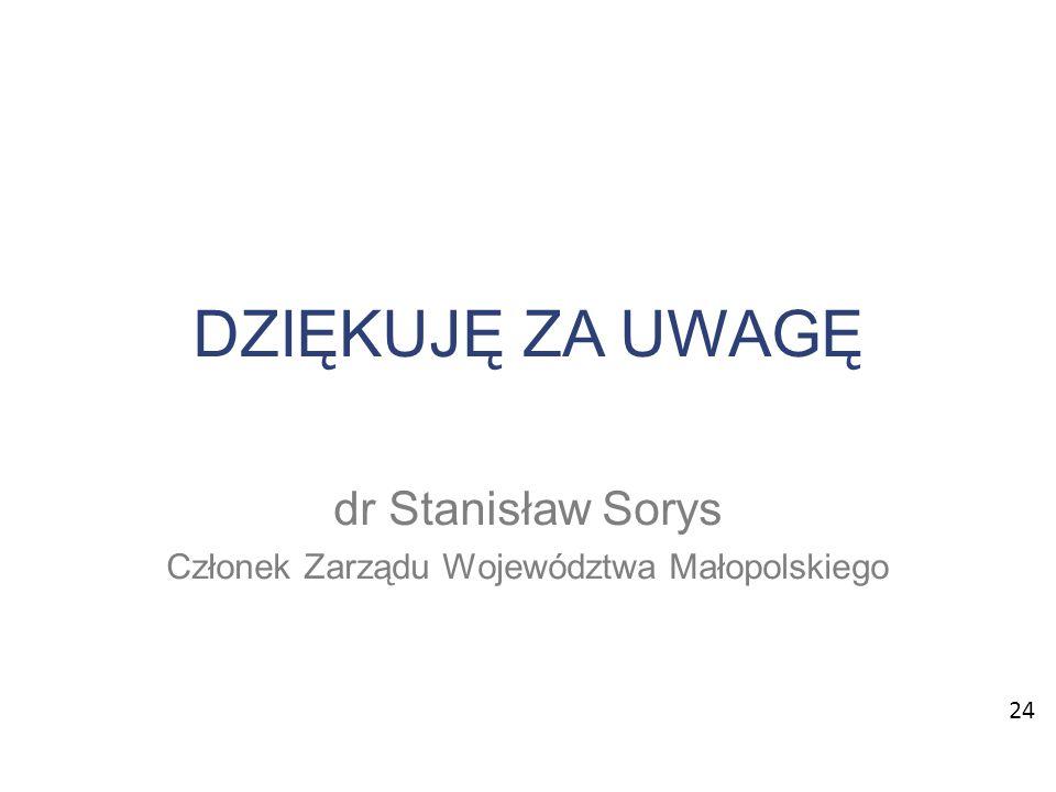 DZIĘKUJĘ ZA UWAGĘ dr Stanisław Sorys Członek Zarządu Województwa Małopolskiego 24