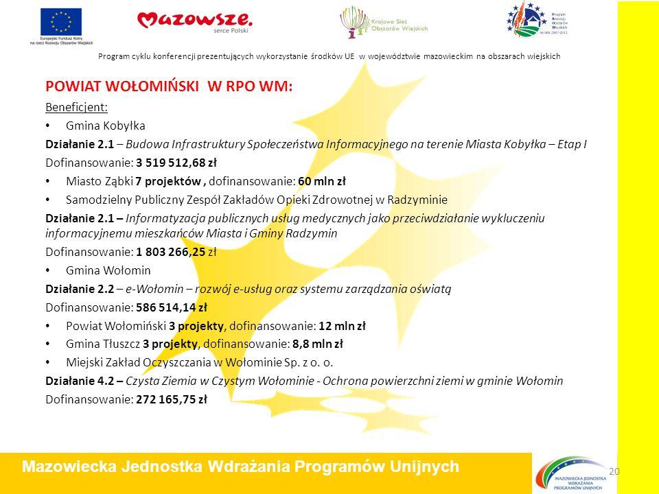 POWIAT WOŁOMIŃSKI W RPO WM: Beneficjent: Gmina Kobyłka Działanie 2.1 – Budowa Infrastruktury Społeczeństwa Informacyjnego na terenie Miasta Kobyłka –