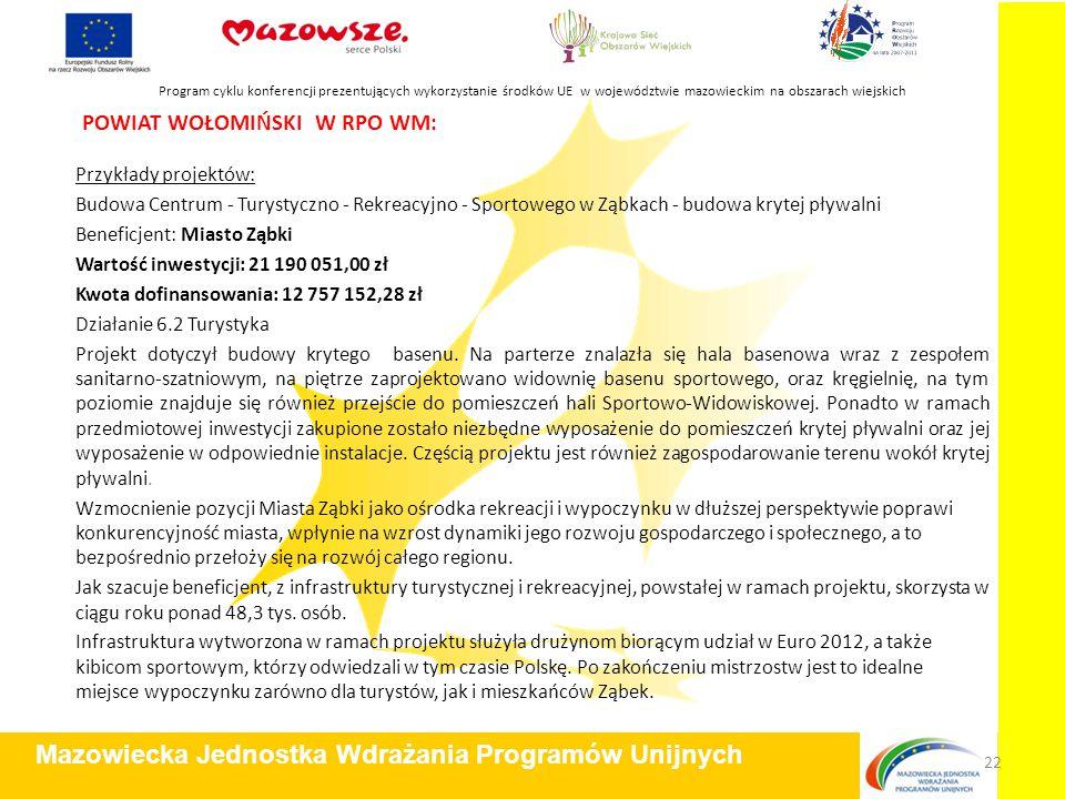POWIAT WOŁOMIŃSKI W RPO WM: Przykłady projektów: Budowa Centrum - Turystyczno - Rekreacyjno - Sportowego w Ząbkach - budowa krytej pływalni Beneficjen
