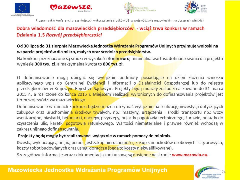 Dobra wiadomość dla mazowieckich przedsiębiorców - wciąż trwa konkurs w ramach Działania 1.5 Rozwój przedsiębiorczości Od 30 lipca do 31 sierpnia Mazo