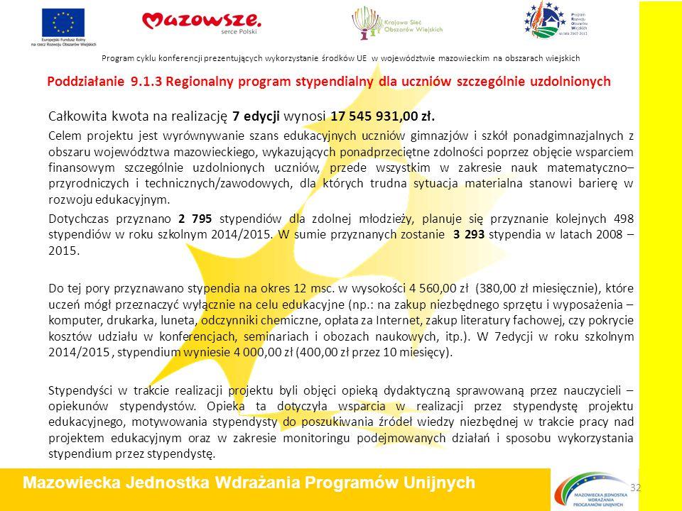 Poddziałanie 9.1.3 Regionalny program stypendialny dla uczniów szczególnie uzdolnionych Całkowita kwota na realizację 7 edycji wynosi 17 545 931,00 zł