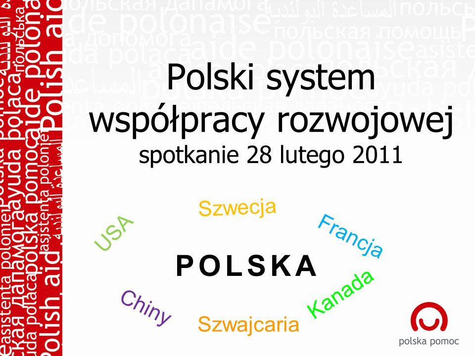 Polski system współpracy rozwojowej spotkanie 28 lutego 2011 POLSKA USA Szwajcaria Kanada Chiny Szwecja Francja