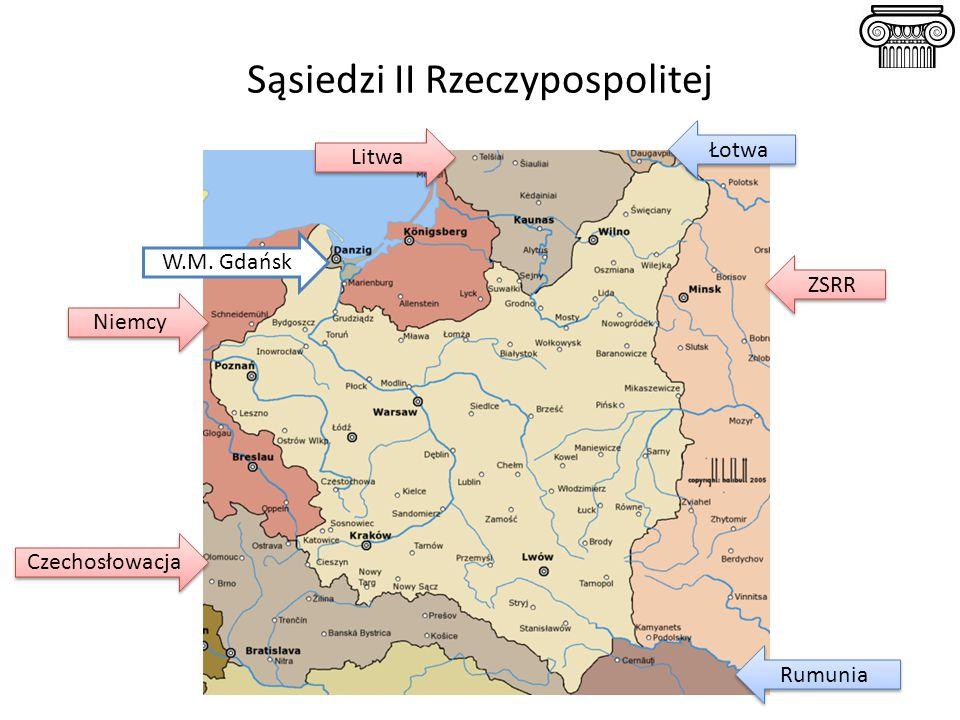 Pogorszenie się sytuacji międzynarodowej II RP w latach 20-ych Skutki dla Niemiec Niemcy mogli korzystać z radzieckich poligonów; wyjście z izolacji 1922 r.