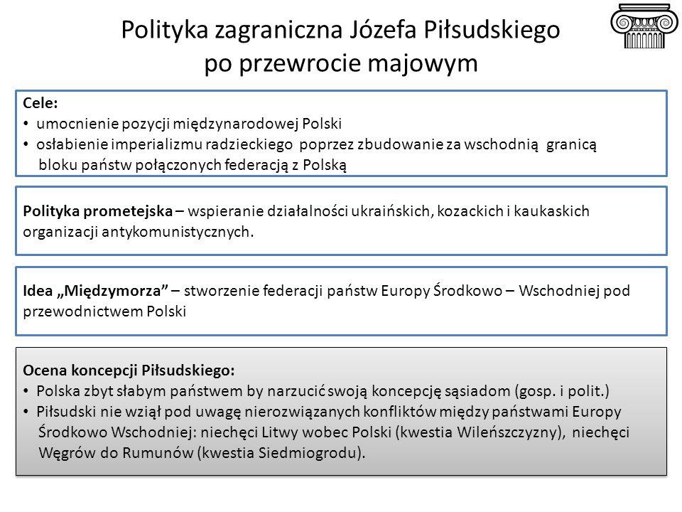 Polityka zagraniczna Józefa Piłsudskiego po przewrocie majowym Cele: umocnienie pozycji międzynarodowej Polski osłabienie imperializmu radzieckiego po