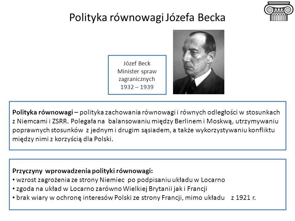 Polityka równowagi Józefa Becka Polityka równowagi – polityka zachowania równowagi i równych odległości w stosunkach z Niemcami i ZSRR. Polegała na ba