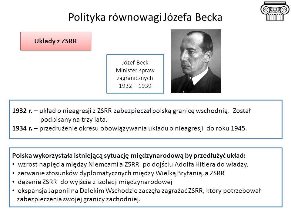 Polityka równowagi Józefa Becka 1932 r. – układ o nieagresji z ZSRR zabezpieczał polską granicę wschodnią. Został podpisany na trzy lata. 1934 r. – pr