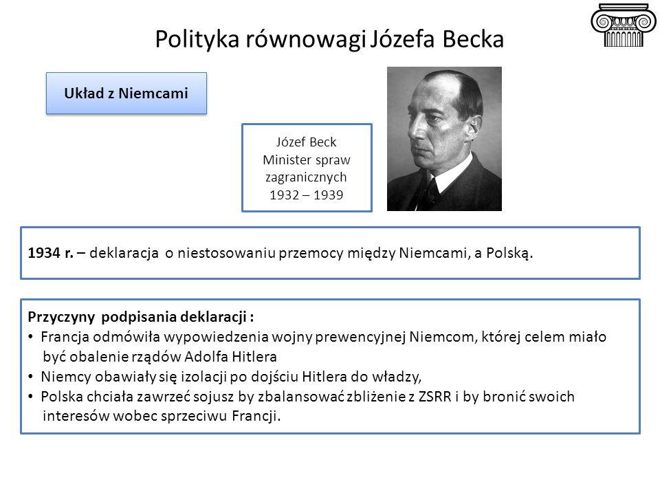 Polityka równowagi Józefa Becka 1934 r. – deklaracja o niestosowaniu przemocy między Niemcami, a Polską. Przyczyny podpisania deklaracji : Francja odm