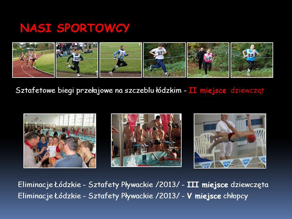 NASI SPORTOWCY Sztafetowe biegi przełajowe na szczeblu łódzkim - II miejsce dziewcząt Eliminacje Łódzkie - Sztafety Pływackie /2013/ - III miejsce dzi