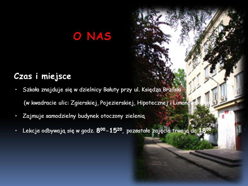 Czas i miejsce Szkoła znajduje się w dzielnicy Bałuty przy ul. Księdza Brzóski (w kwadracie ulic: Zgierskiej, Pojezierskiej, Hipotecznej i Limanowskie