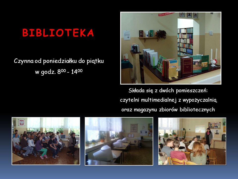 BIBLIOTEKA Czynna od poniedziałku do piątku w godz. 8 00 - 14 00 Składa się z dwóch pomieszczeń: czytelni multimedialnej z wypożyczalnią oraz magazynu