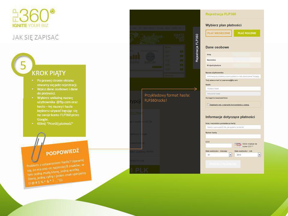 Po prawej stronie ekranu otworzy się pole rejestracji. Wpisz dane osobowe i dane do płatności. Wybierz unikalną nazwę użytkownika @flp.com oraz hasło