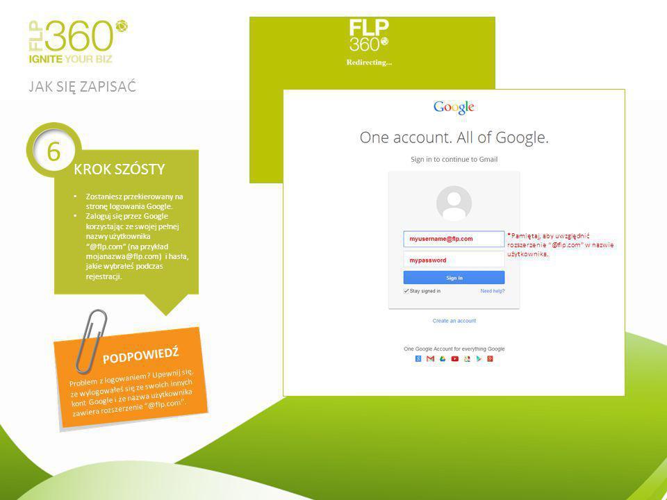 """Zostaniesz przekierowany na stronę logowania Google. Zaloguj się przez Google korzystając ze swojej pełnej nazwy użytkownika """"@flp.com"""" (na przykład m"""