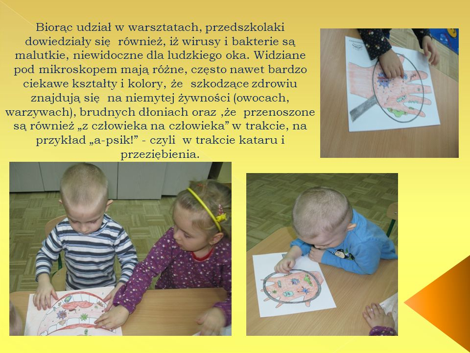 Biorąc udział w warsztatach, przedszkolaki dowiedziały się również, iż wirusy i bakterie są malutkie, niewidoczne dla ludzkiego oka.