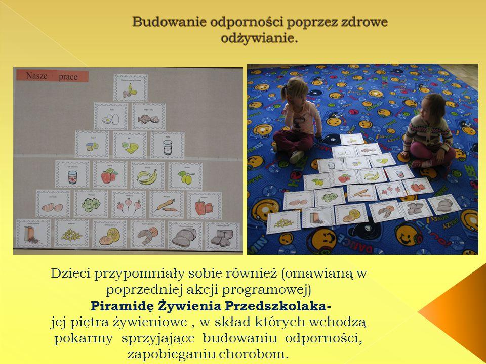 Dzieci przypomniały sobie również (omawianą w poprzedniej akcji programowej) Piramidę Żywienia Przedszkolaka- jej piętra żywieniowe, w skład których wchodzą pokarmy sprzyjające budowaniu odporności, zapobieganiu chorobom.