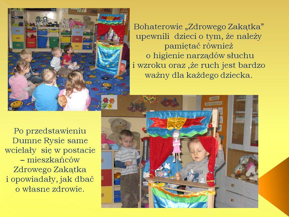 """Bohaterowie """"Zdrowego Zakątka"""" upewnili dzieci o tym, że należy pamiętać również o higienie narządów słuchu i wzroku oraz,że ruch jest bardzo ważny dl"""