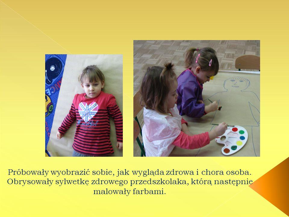 Próbowały wyobrazić sobie, jak wygląda zdrowa i chora osoba. Obrysowały sylwetkę zdrowego przedszkolaka, którą następnie malowały farbami.