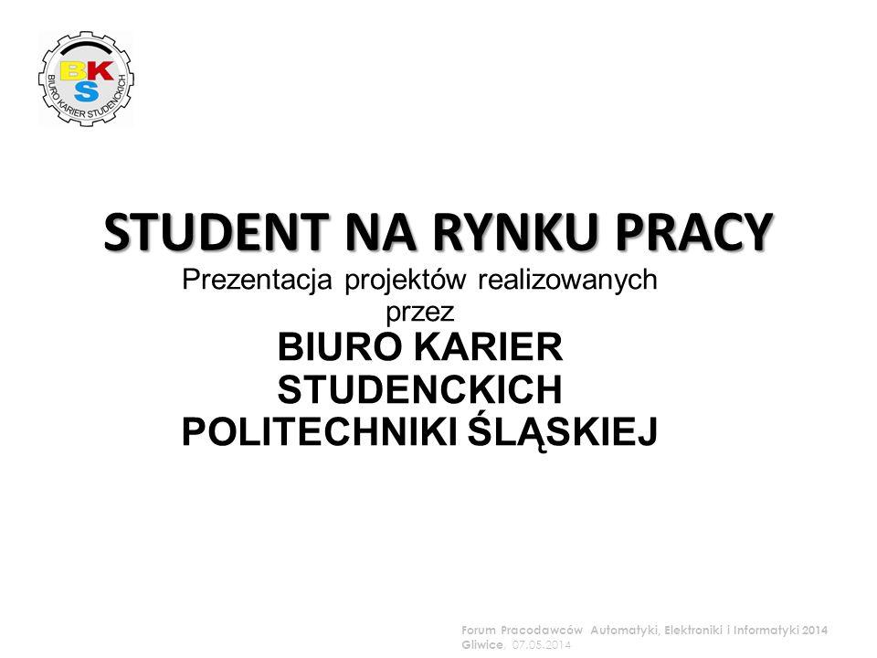 Prezentacja projektów realizowanych przez BIURO KARIER STUDENCKICH POLITECHNIKI ŚLĄSKIEJ Forum Pracodawców Automatyki, Elektroniki i Informatyki 2014 Gliwice, 07.05.2014 STUDENT NA RYNKU PRACY