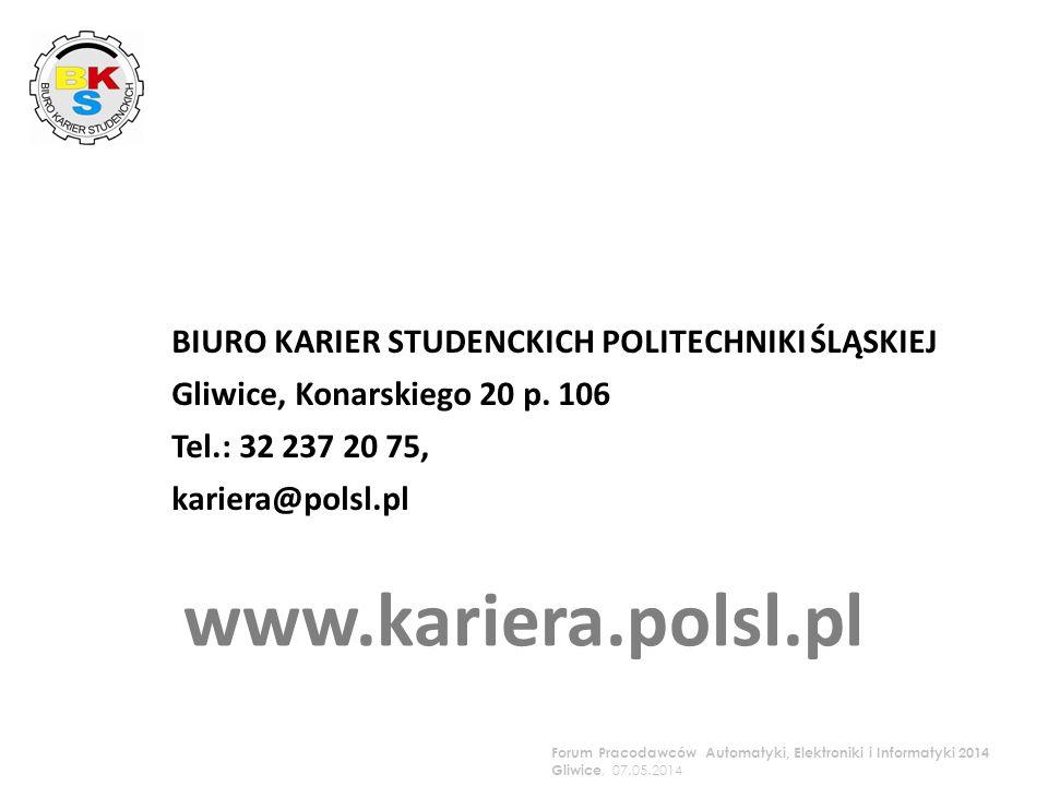 BIURO KARIER STUDENCKICH POLITECHNIKI ŚLĄSKIEJ Gliwice, Konarskiego 20 p.